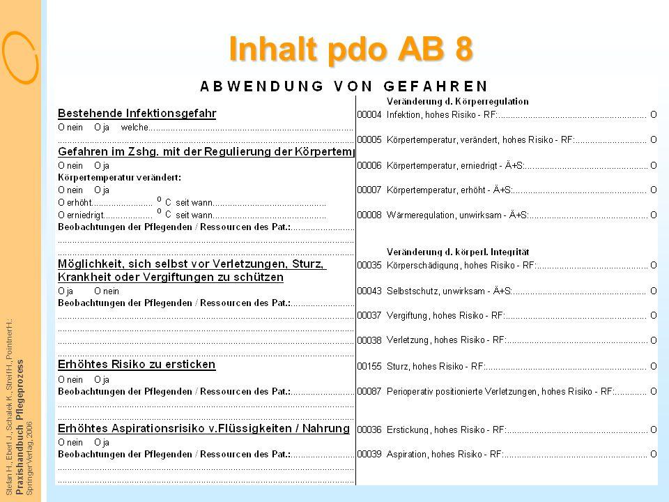 Inhalt pdo AB 8 Praxishandbuch Pflegeprozess