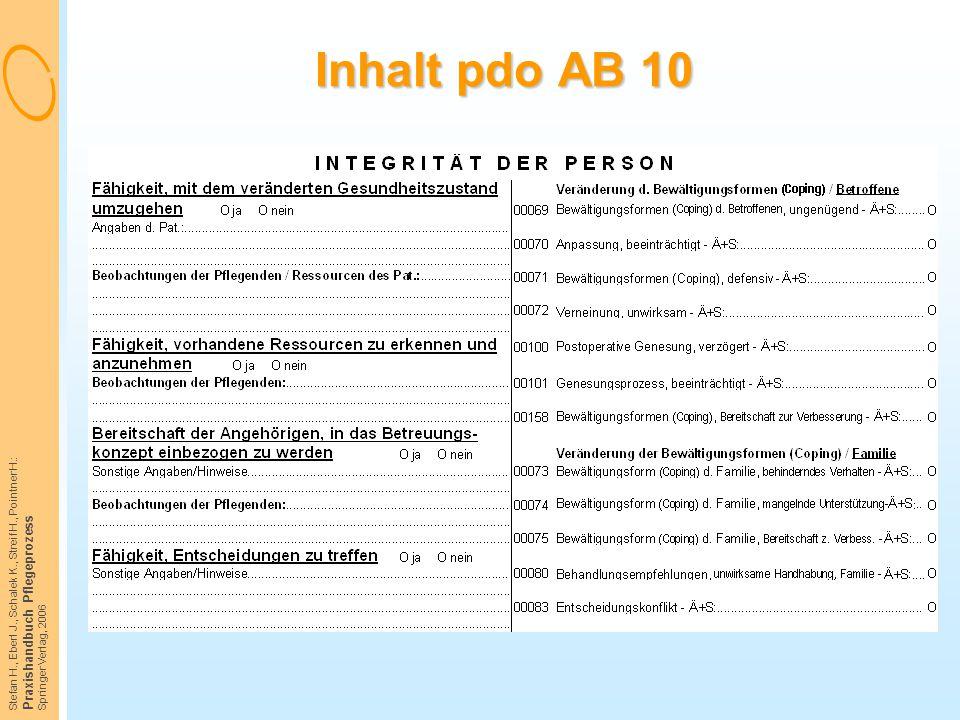 Inhalt pdo AB 10 Praxishandbuch Pflegeprozess