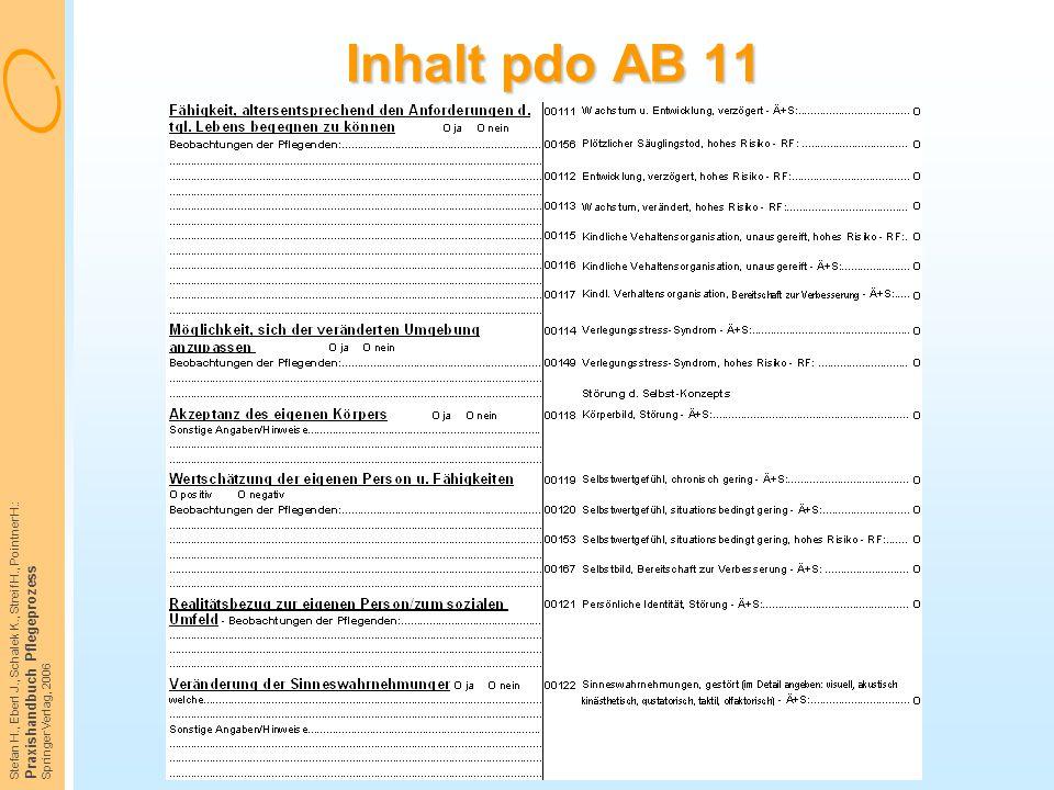 Inhalt pdo AB 11 Praxishandbuch Pflegeprozess