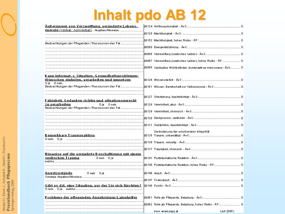 Inhalt pdo AB 12 Praxishandbuch Pflegeprozess