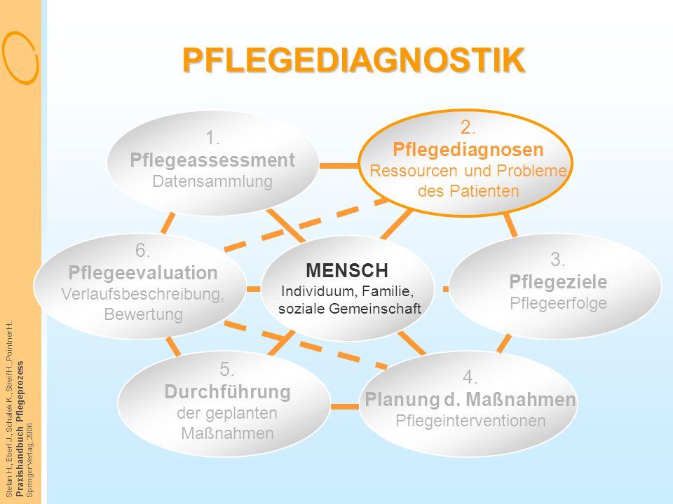 PFLEGEDIAGNOSTIK 1. Pflegeassessment Datensammlung. 2. Pflegediagnosen Ressourcen und Probleme des Patienten.