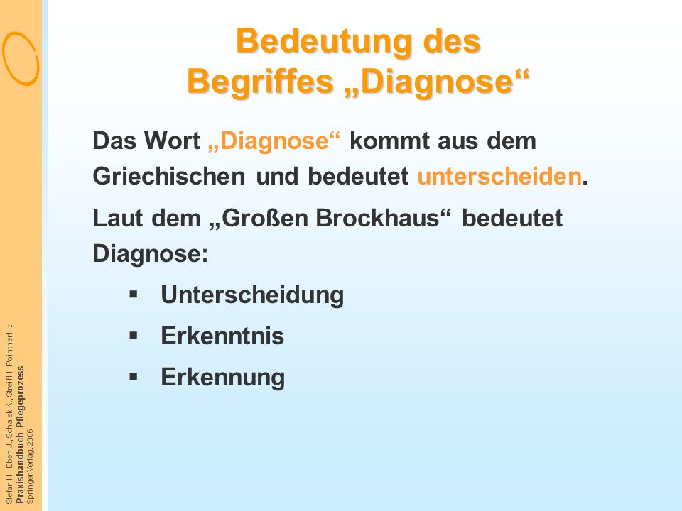 """Bedeutung des Begriffes """"Diagnose"""