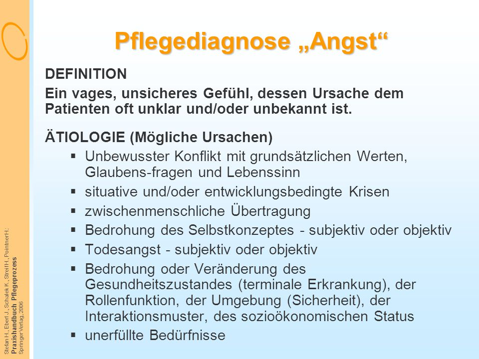 "Pflegediagnose ""Angst"