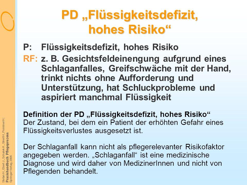 """PD """"Flüssigkeitsdefizit, hohes Risiko"""