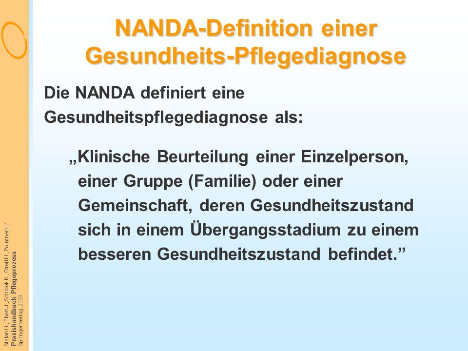 NANDA-Definition einer Gesundheits-Pflegediagnose