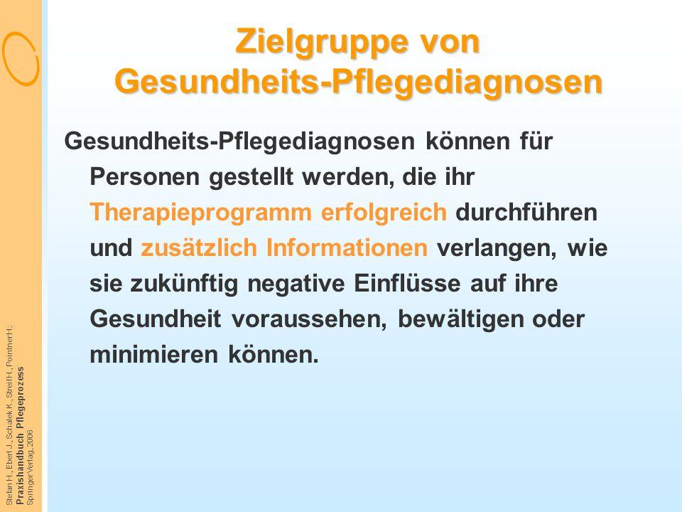 Zielgruppe von Gesundheits-Pflegediagnosen