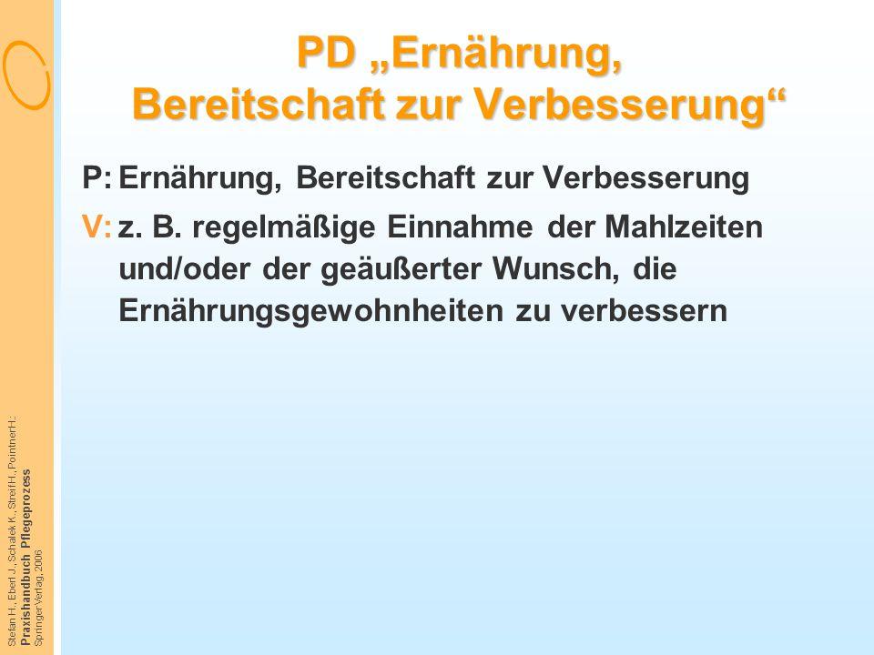"""PD """"Ernährung, Bereitschaft zur Verbesserung"""