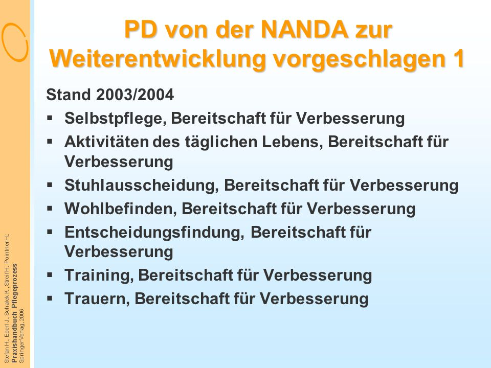 PD von der NANDA zur Weiterentwicklung vorgeschlagen 1