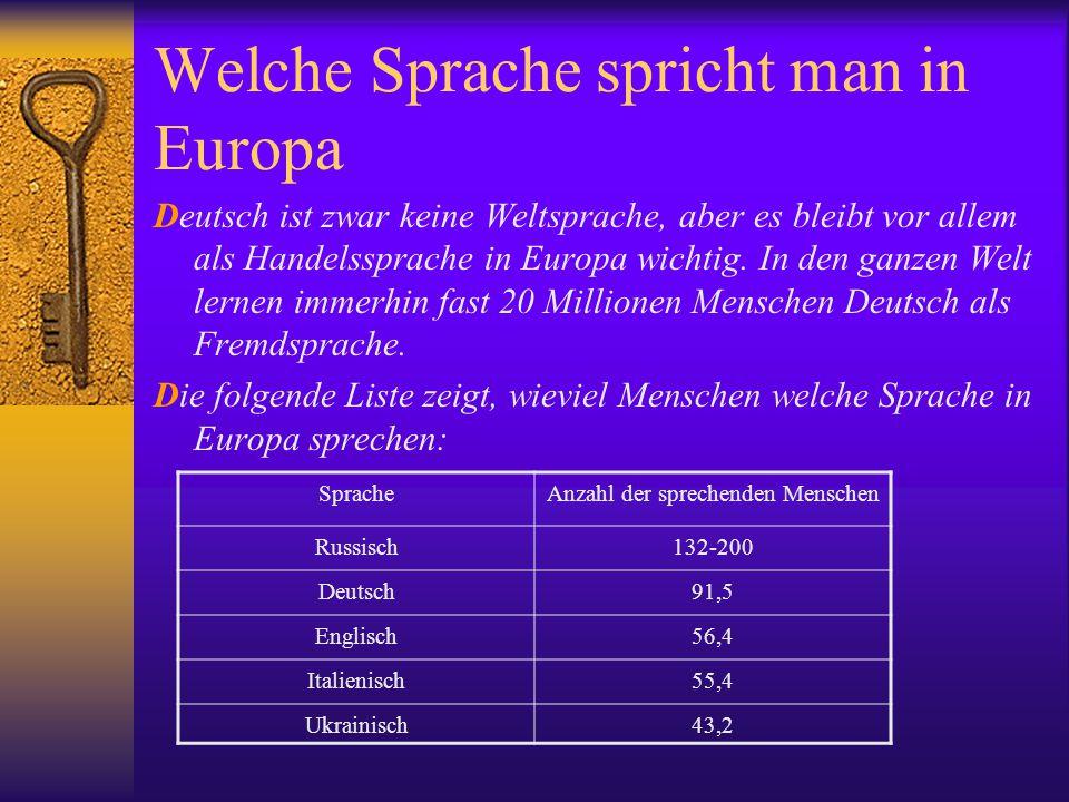 Welche Sprache spricht man in Europa