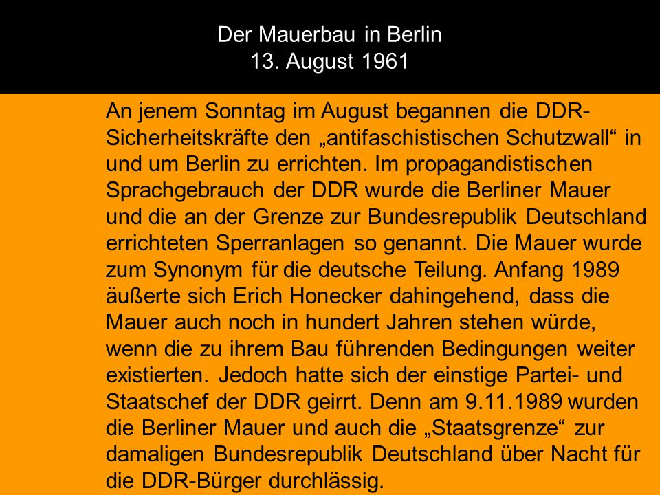 Der Mauerbau in Berlin 13. August 1961
