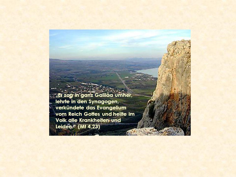 """""""Er zog in ganz Galiläa umher, lehrte in den Synagogen, verkündete das Evangelium vom Reich Gottes und heilte im Volk alle Krankheiten und Leiden. (Mt 4,23)"""