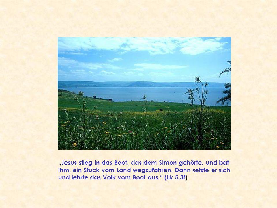 """""""Jesus stieg in das Boot, das dem Simon gehörte, und bat ihm, ein Stück vom Land wegzufahren."""