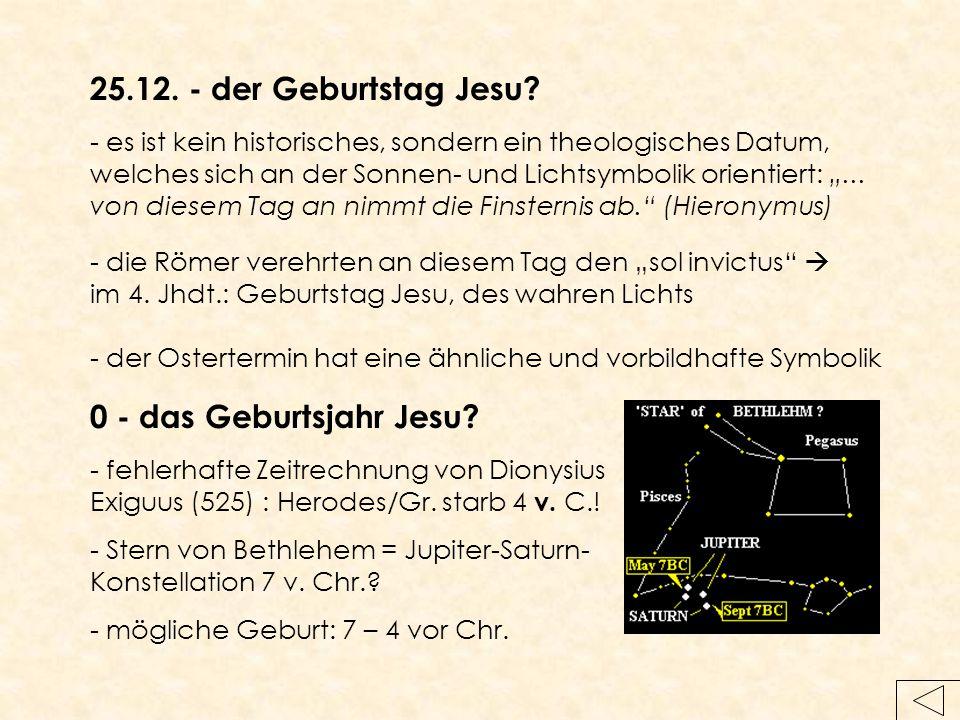 25.12. - der Geburtstag Jesu 0 - das Geburtsjahr Jesu