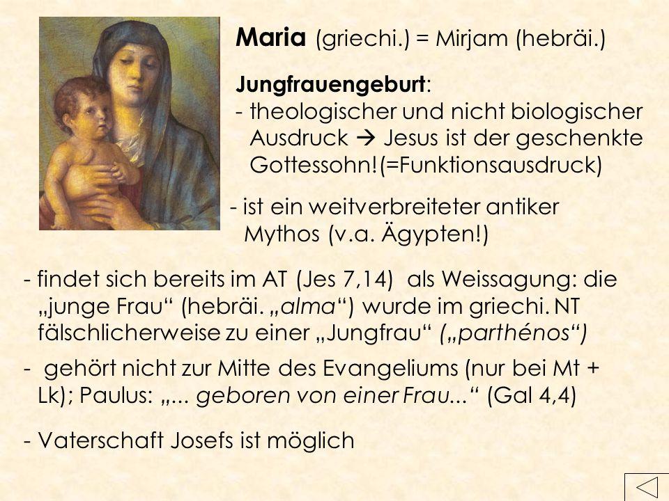 Maria (griechi.) = Mirjam (hebräi.)