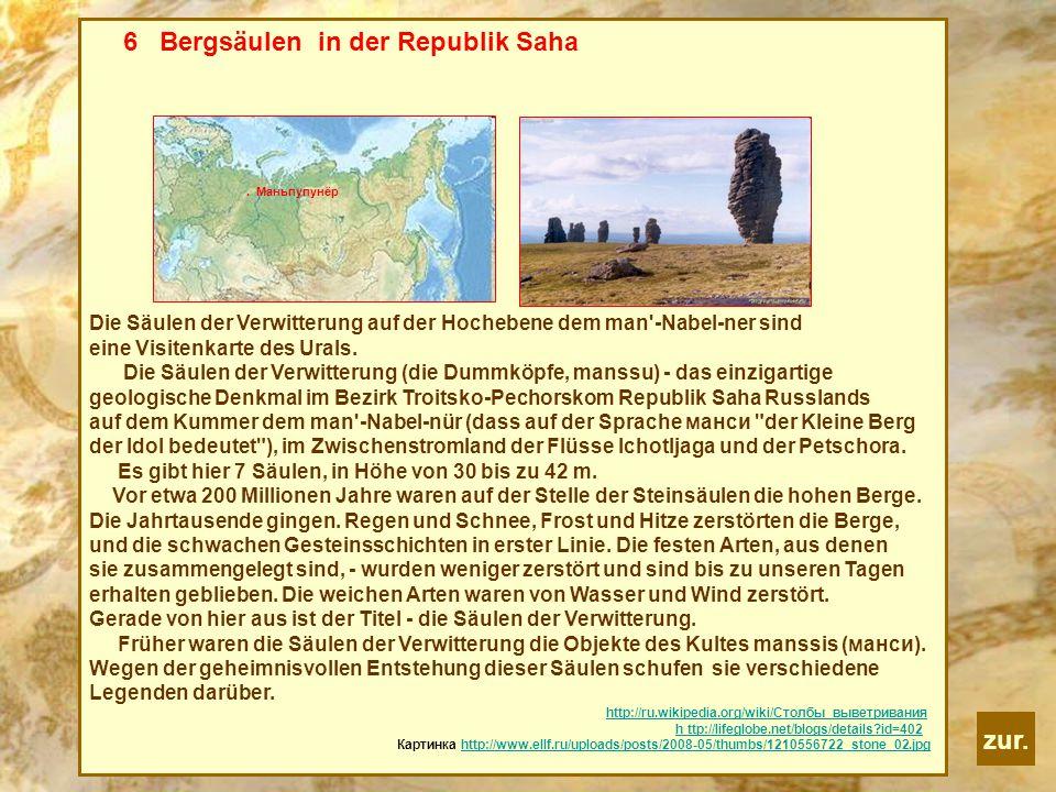 zur. 6 Bergsäulen in der Republik Saha