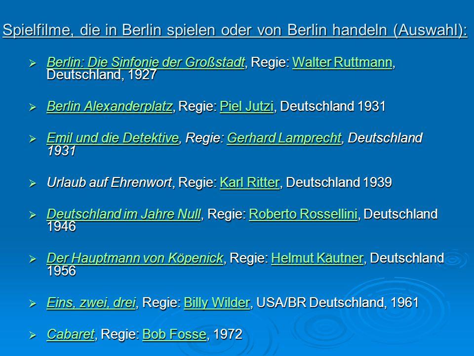 Spielfilme, die in Berlin spielen oder von Berlin handeln (Auswahl):