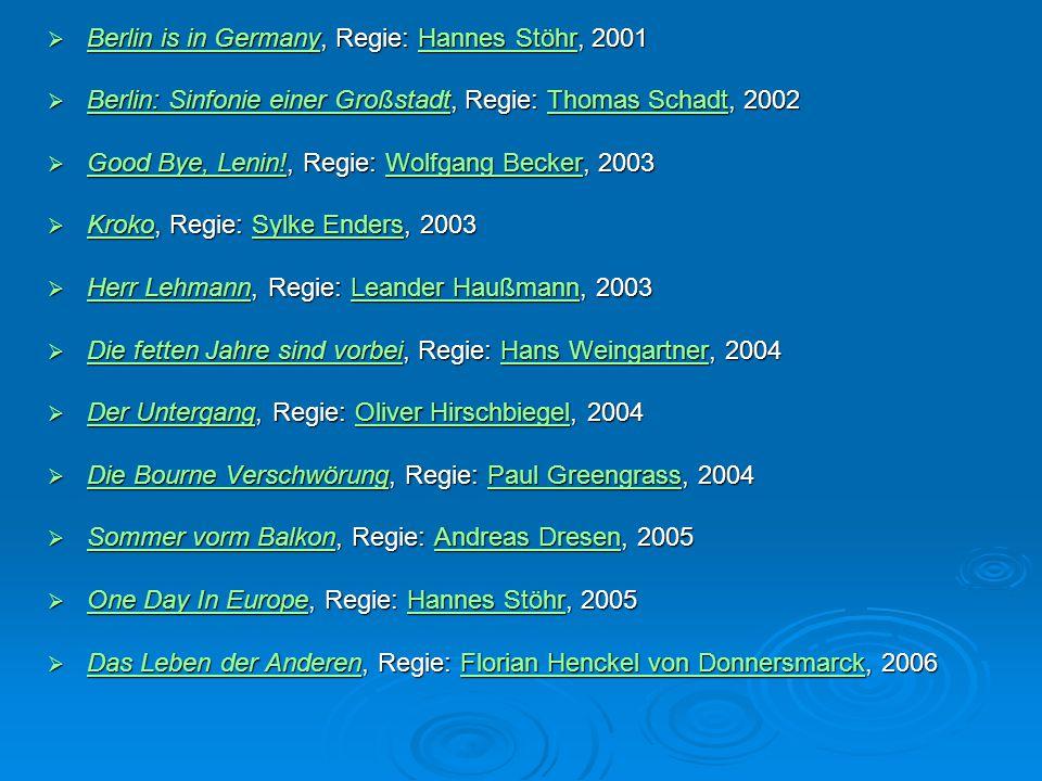Berlin is in Germany, Regie: Hannes Stöhr, 2001