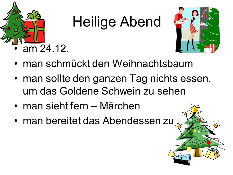 Heilige Abend am 24.12. man schmückt den Weihnachtsbaum
