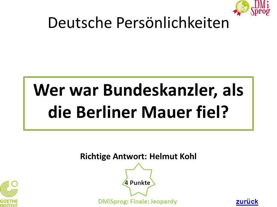 Wer war Bundeskanzler, als die Berliner Mauer fiel