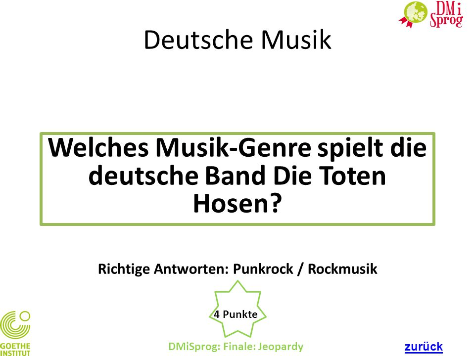 Welches Musik-Genre spielt die deutsche Band Die Toten Hosen