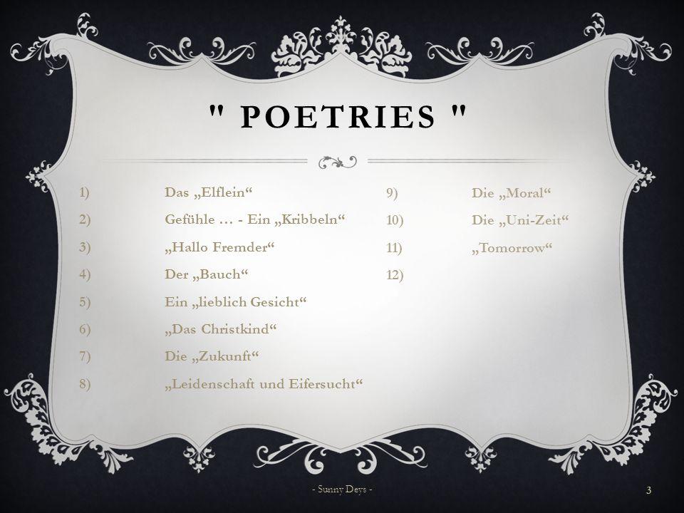 "POetries Die ""Moral Die ""Uni-Zeit Das ""Elflein ""Tomorrow"