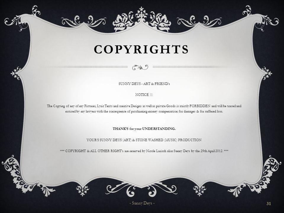 Copyrights - Sunny Deys -
