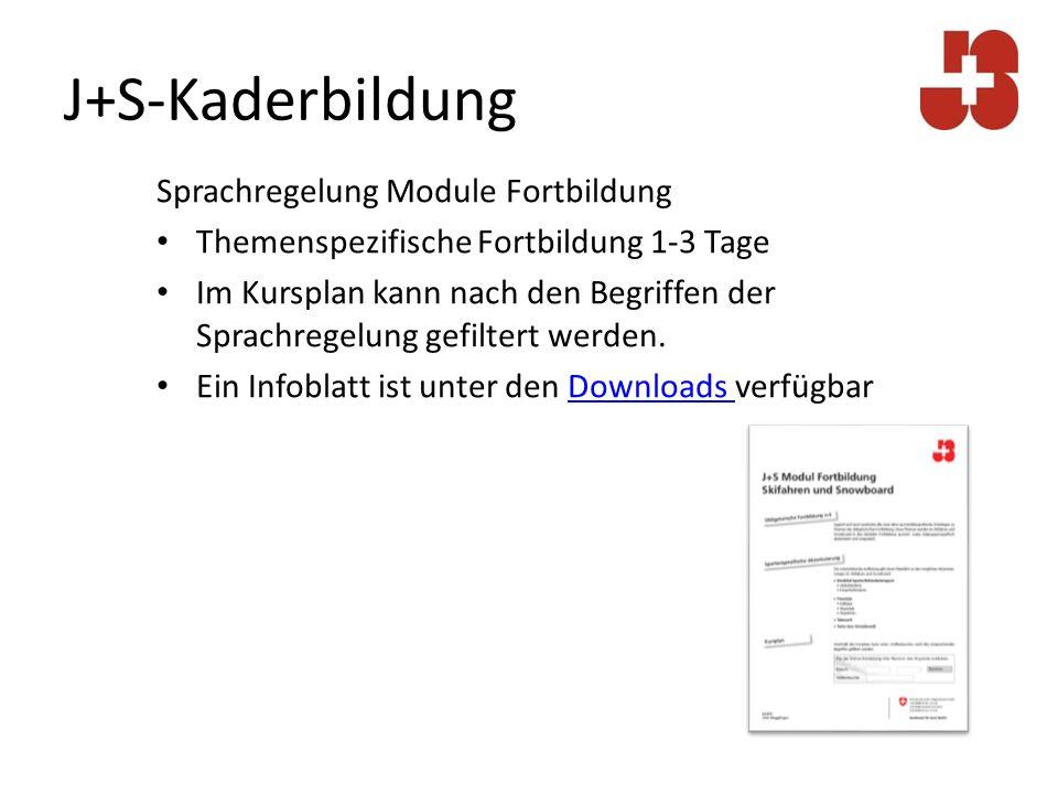 J+S-Kaderbildung Sprachregelung Module Fortbildung