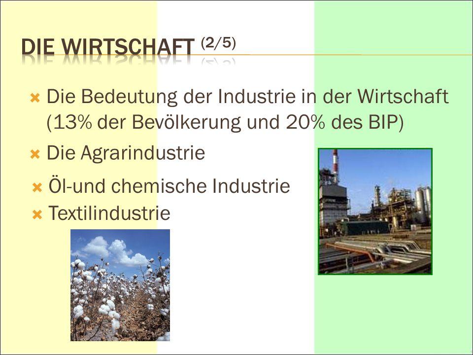 DIE WIRTSCHAFT (2/5) Die Bedeutung der Industrie in der Wirtschaft (13% der Bevölkerung und 20% des BIP)