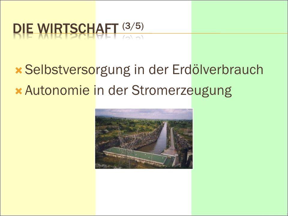 DIE WIRTSCHAFT (3/5) Selbstversorgung in der Erdölverbrauch Autonomie in der Stromerzeugung