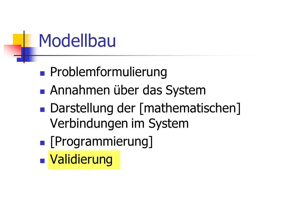 Modellbau Problemformulierung Annahmen über das System