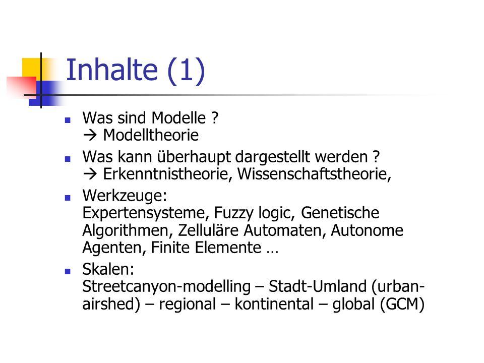 Inhalte (1) Was sind Modelle  Modelltheorie
