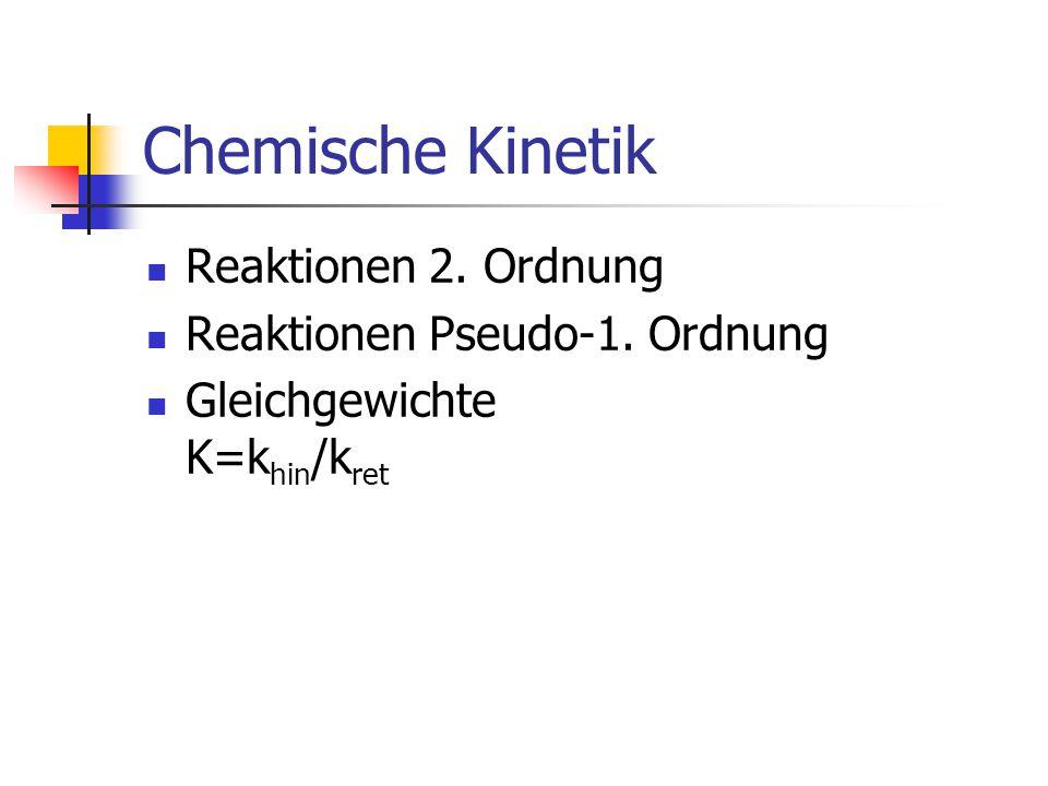 Chemische Kinetik Reaktionen 2. Ordnung Reaktionen Pseudo-1. Ordnung