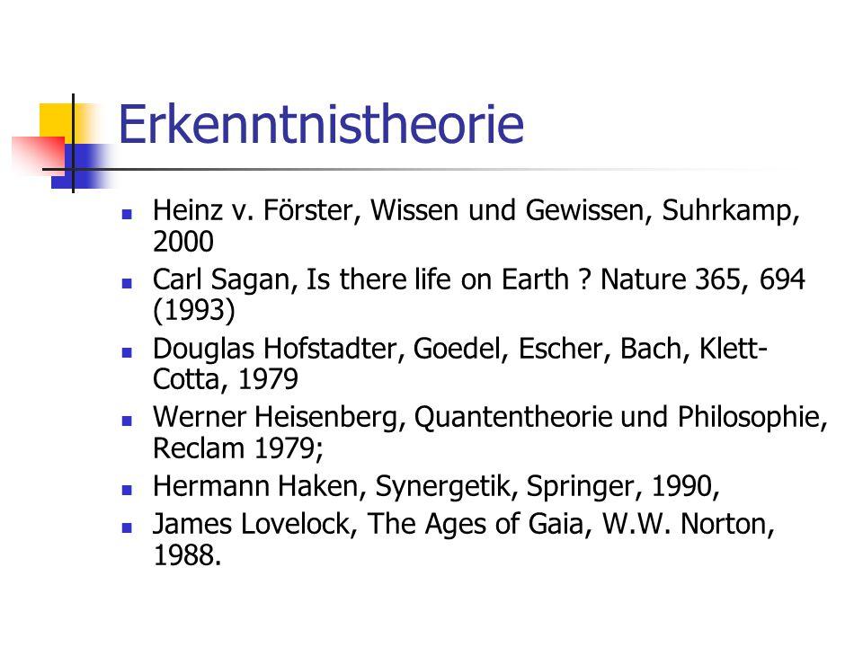 Erkenntnistheorie Heinz v. Förster, Wissen und Gewissen, Suhrkamp, 2000. Carl Sagan, Is there life on Earth Nature 365, 694 (1993)