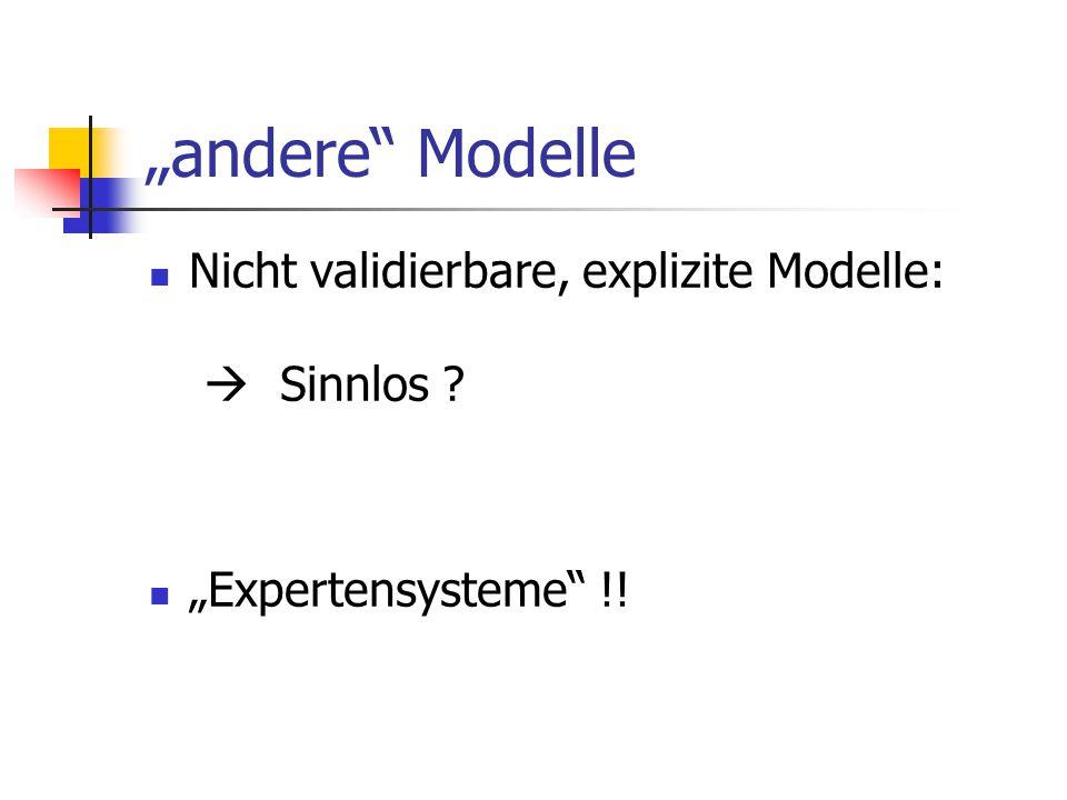 """""""andere Modelle Nicht validierbare, explizite Modelle:  Sinnlos"""
