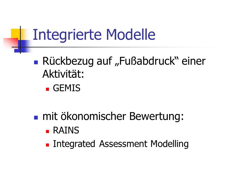 """Integrierte Modelle Rückbezug auf """"Fußabdruck einer Aktivität:"""