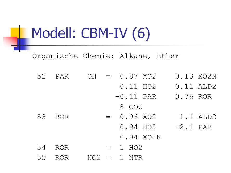 Modell: CBM-IV (6) Organische Chemie: Alkane, Ether