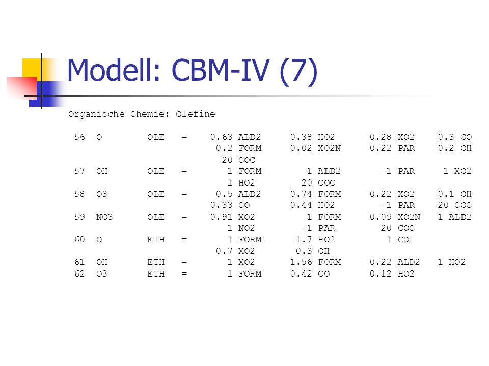 Modell: CBM-IV (7) Organische Chemie: Olefine