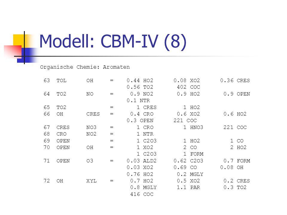 Modell: CBM-IV (8) Organische Chemie: Aromaten