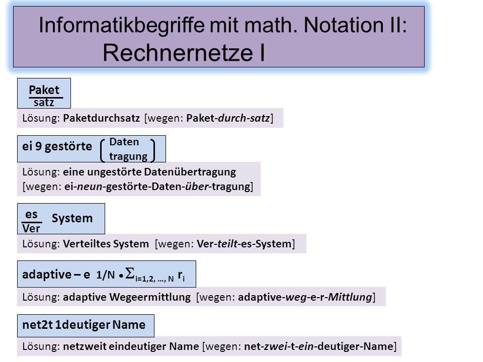 Informatikbegriffe mit math. Notation II: