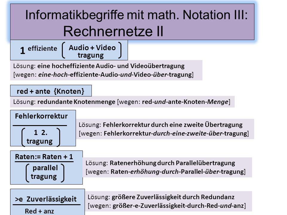 Informatikbegriffe mit math. Notation III: