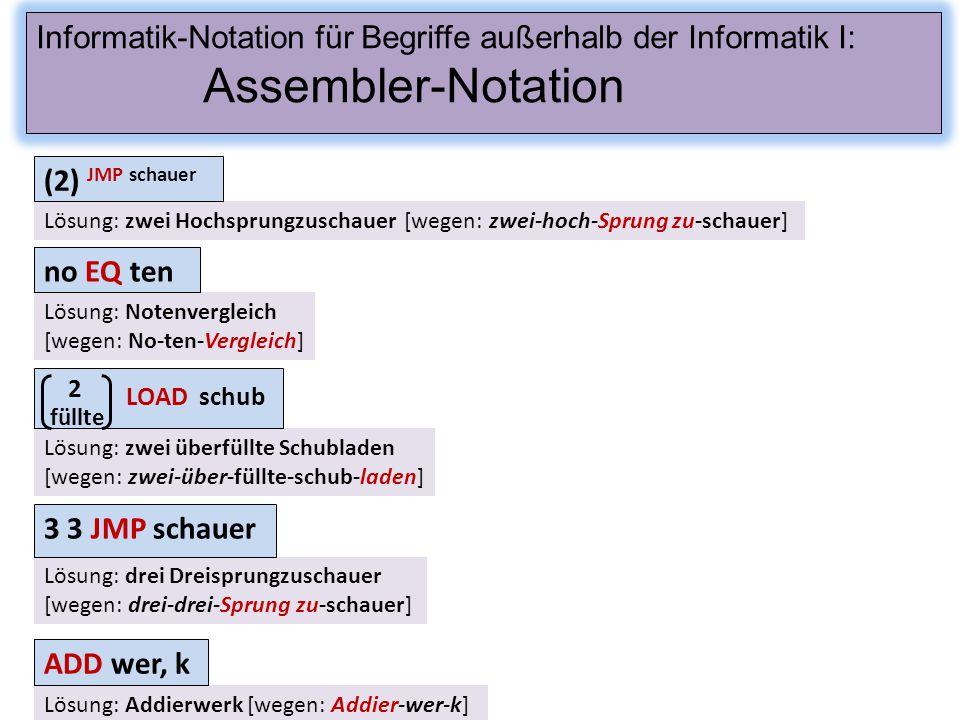 Assembler-Notation füllte