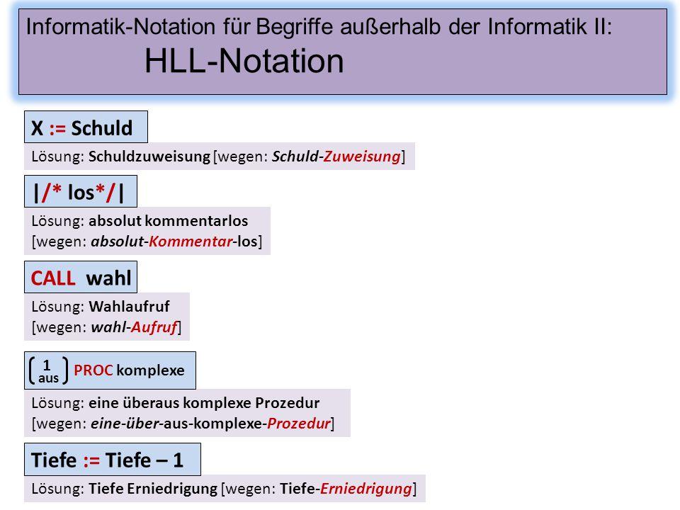 Informatik-Notation für Begriffe außerhalb der Informatik II: