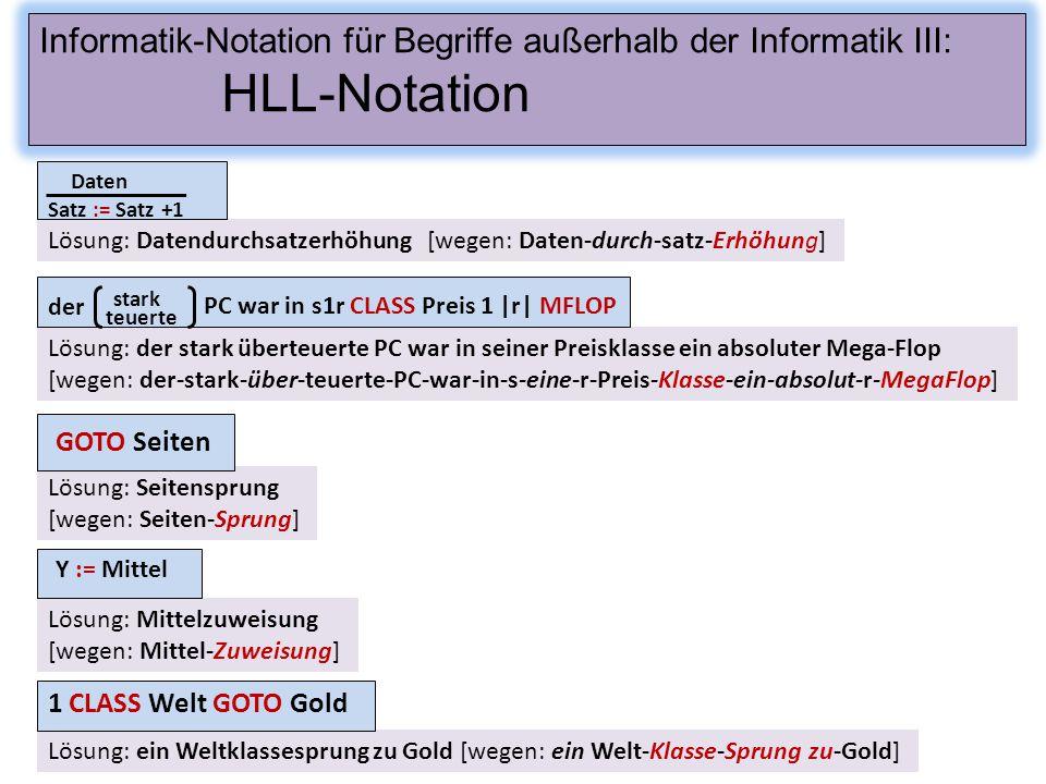 Informatik-Notation für Begriffe außerhalb der Informatik III:
