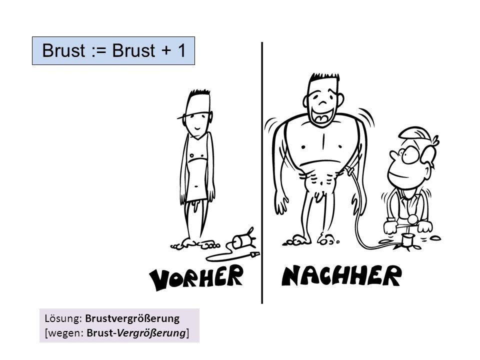Brust := Brust + 1 Lösung: Brustvergrößerung