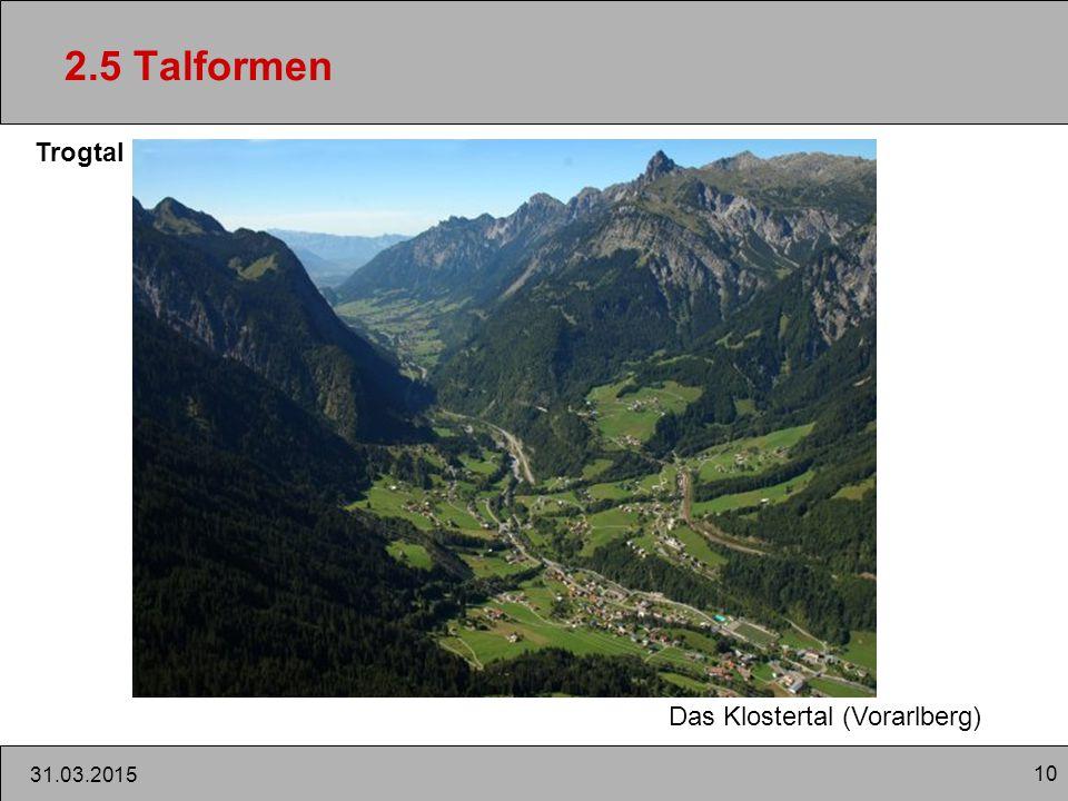 2.5 Talformen Trogtal Das Klostertal (Vorarlberg) 09.04.2017 10