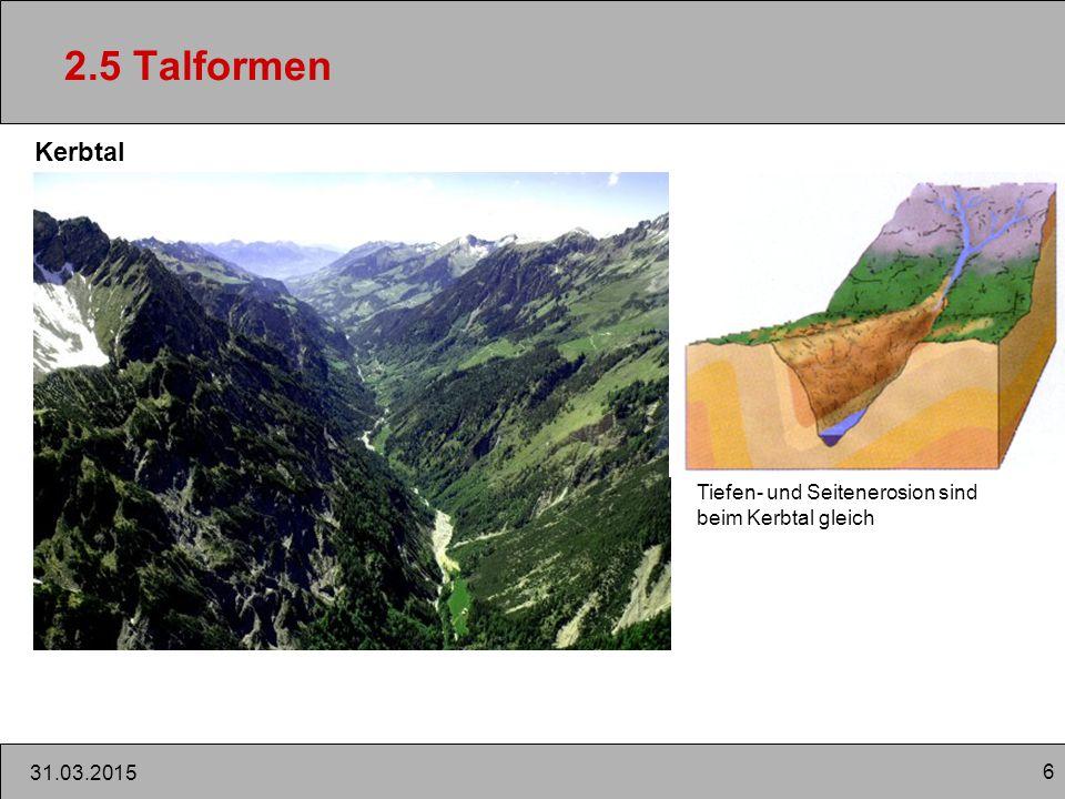 2.5 Talformen Kerbtal Tiefen- und Seitenerosion sind beim Kerbtal gleich 09.04.2017