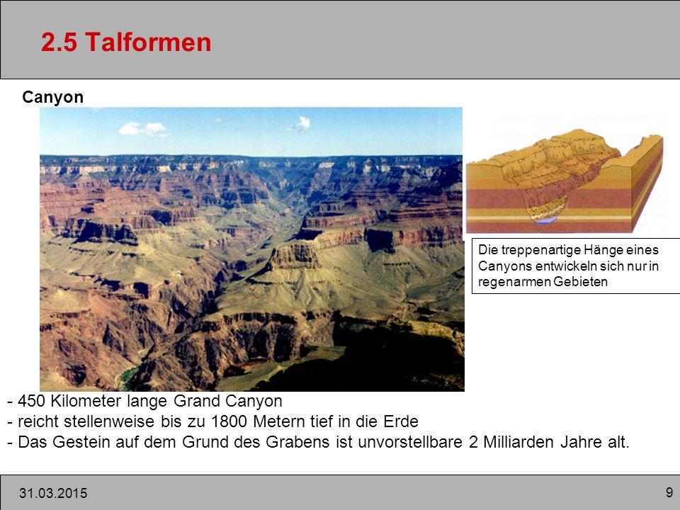 2.5 Talformen Canyon 450 Kilometer lange Grand Canyon