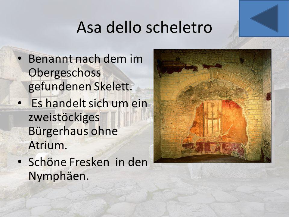 Asa dello scheletro Benannt nach dem im Obergeschoss gefundenen Skelett. Es handelt sich um ein zweistöckiges Bürgerhaus ohne Atrium.