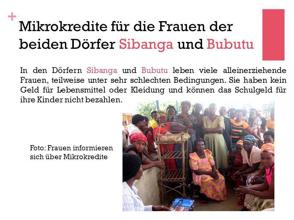 Mikrokredite für die Frauen der beiden Dörfer Sibanga und Bubutu