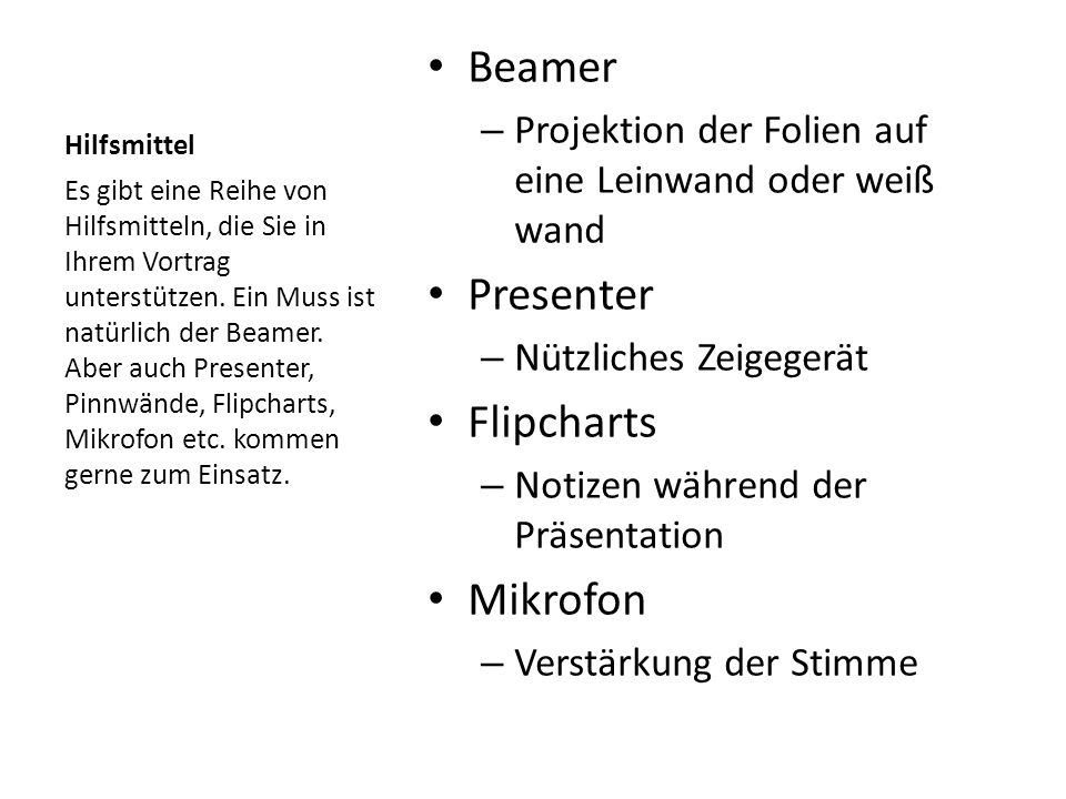 Beamer Presenter Flipcharts Mikrofon